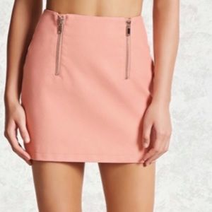Dual front zipper faux leather skirt pink